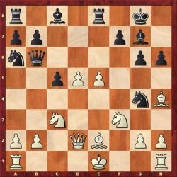 efter 14. Sg4 har sort en dynamisk stilling.